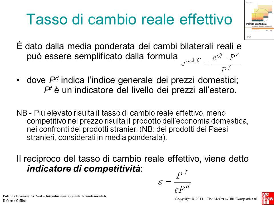Copyright © 2011 – The McGraw-Hill Companies srl Politica Economica 2/ed – Introduzione ai modelli fondamentali Roberto Cellini Tasso di cambio reale