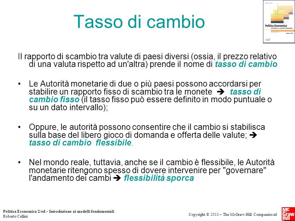 Copyright © 2011 – The McGraw-Hill Companies srl Politica Economica 2/ed – Introduzione ai modelli fondamentali Roberto Cellini Tasso di cambio Il rap