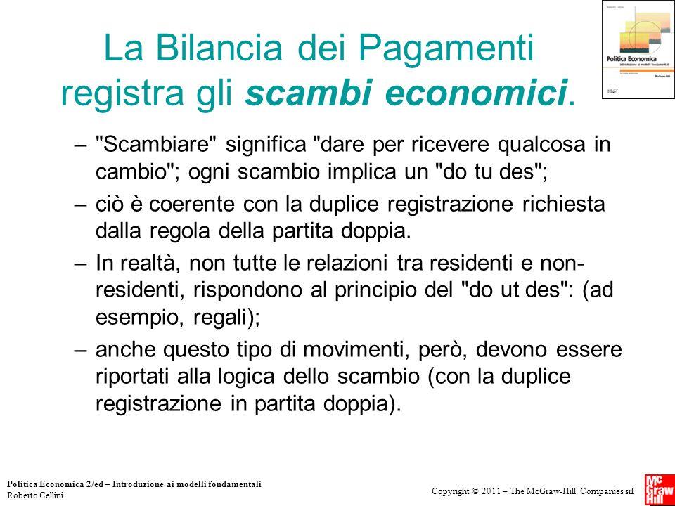 Copyright © 2011 – The McGraw-Hill Companies srl Politica Economica 2/ed – Introduzione ai modelli fondamentali Roberto Cellini La Bilancia dei Pagame
