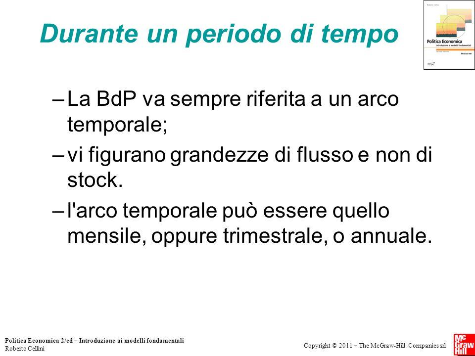 Copyright © 2011 – The McGraw-Hill Companies srl Politica Economica 2/ed – Introduzione ai modelli fondamentali Roberto Cellini Durante un periodo di