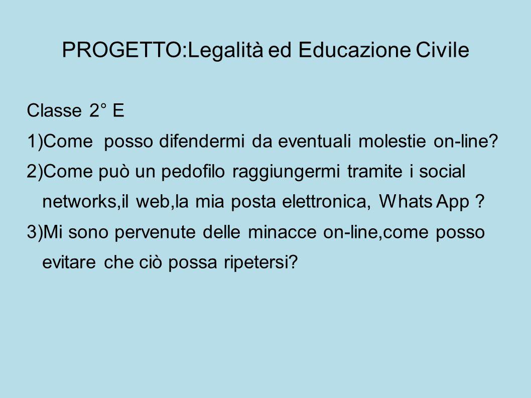 PROGETTO:Legalità ed Educazione Civile Classe 2° E 1)Come posso difendermi da eventuali molestie on-line.