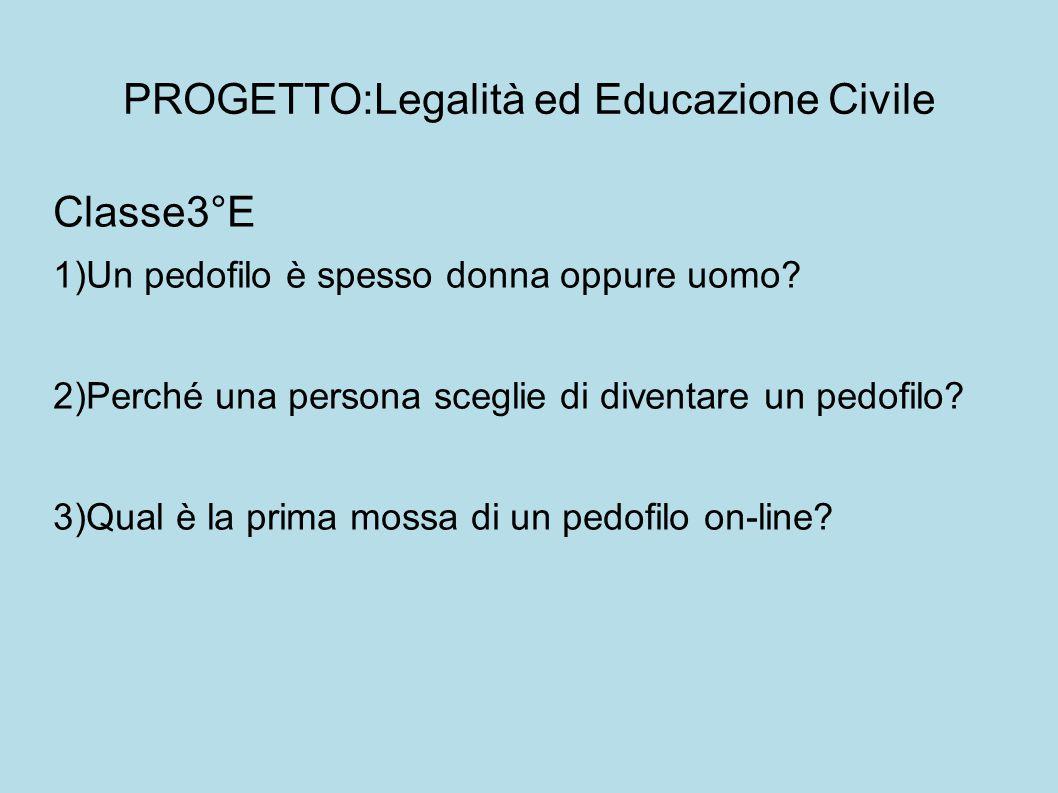 PROGETTO:Legalità ed Educazione Civile Classe3°E 1)Un pedofilo è spesso donna oppure uomo.