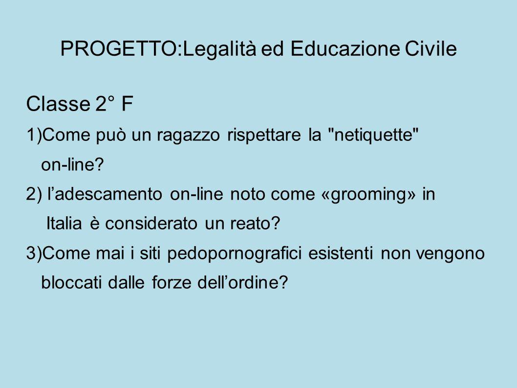 PROGETTO:Legalità ed Educazione Civile Classe 2° F 1)Come può un ragazzo rispettare la netiquette on-line.