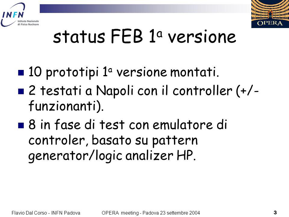 Flavio Dal Corso - INFN Padova3 OPERA meeting - Padova 23 settembre 2004 status FEB 1 a versione 10 prototipi 1 a versione montati.