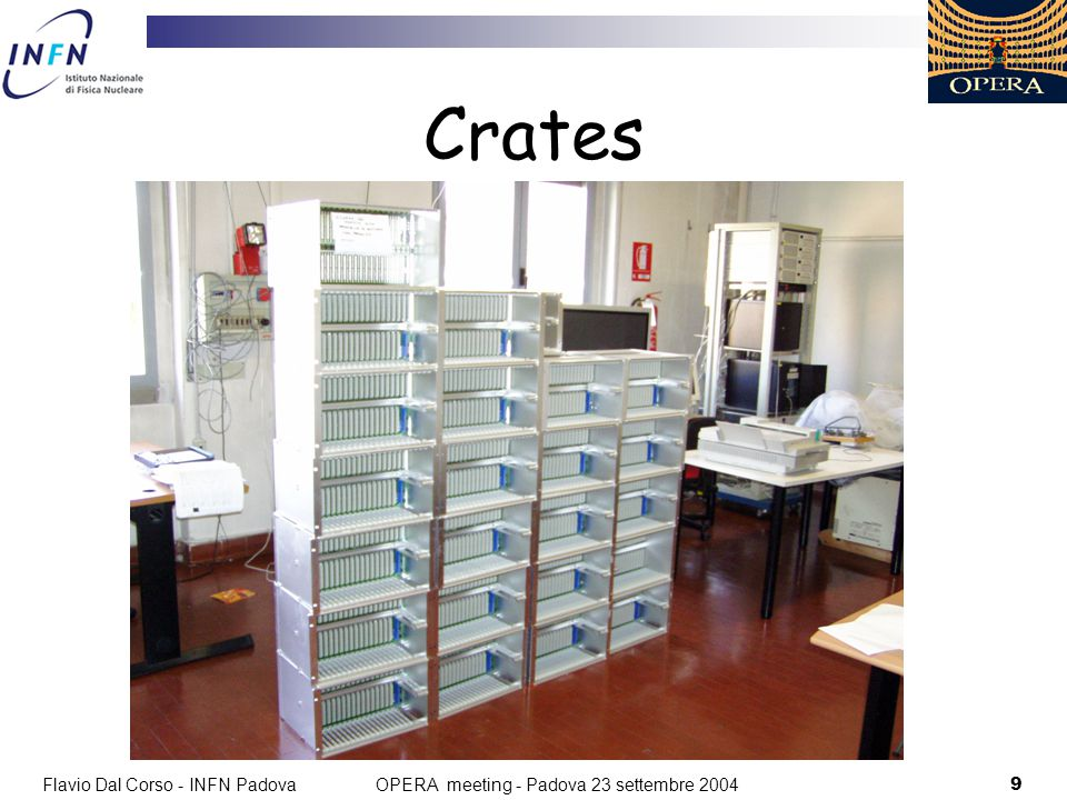 Flavio Dal Corso - INFN Padova10 OPERA meeting - Padova 23 settembre 2004 Crates Produzione crates e backplaens completata.