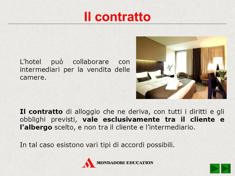 Il contratto di alloggio che ne deriva, con tutti i diritti e gli obblighi previsti, vale esclusivamente tra il cliente e l'albergo scelto, e non tra il cliente e l'intermediario.