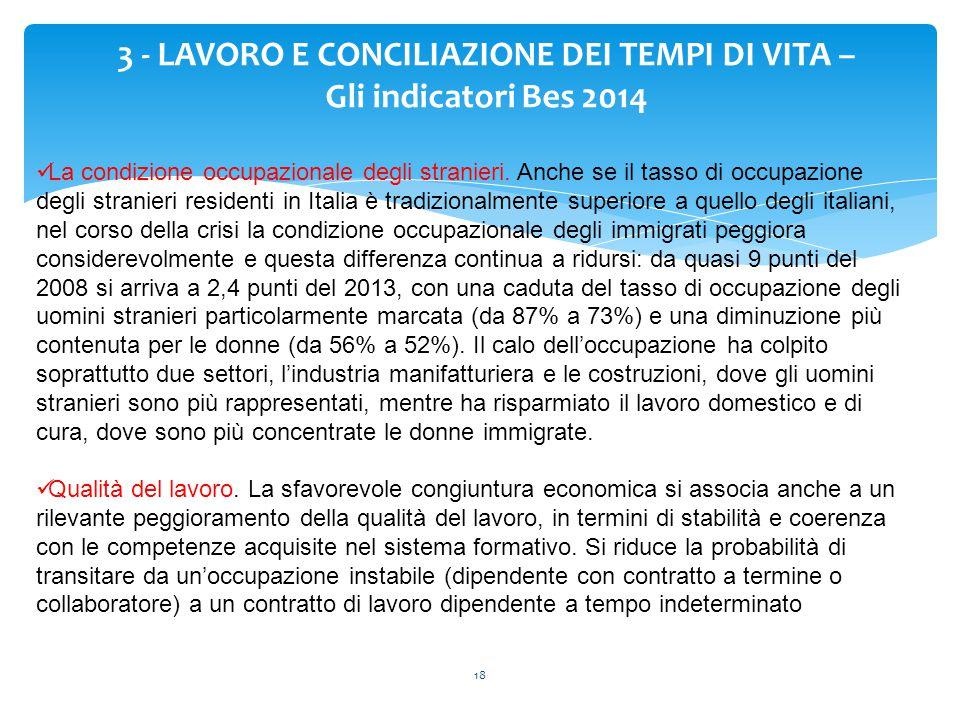 18 3 - LAVORO E CONCILIAZIONE DEI TEMPI DI VITA – Gli indicatori Bes 2014 La condizione occupazionale degli stranieri. Anche se il tasso di occupazion