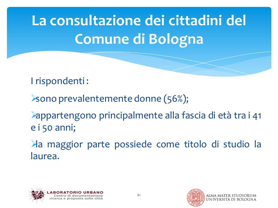 61 La consultazione dei cittadini del Comune di Bologna I rispondenti :  sono prevalentemente donne (56%);  appartengono principalmente alla fascia di età tra i 41 e i 50 anni;  la maggior parte possiede come titolo di studio la laurea.