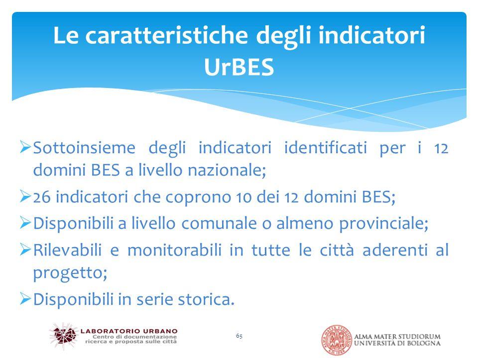  Sottoinsieme degli indicatori identificati per i 12 domini BES a livello nazionale;  26 indicatori che coprono 10 dei 12 domini BES;  Disponibili a livello comunale o almeno provinciale;  Rilevabili e monitorabili in tutte le città aderenti al progetto;  Disponibili in serie storica.