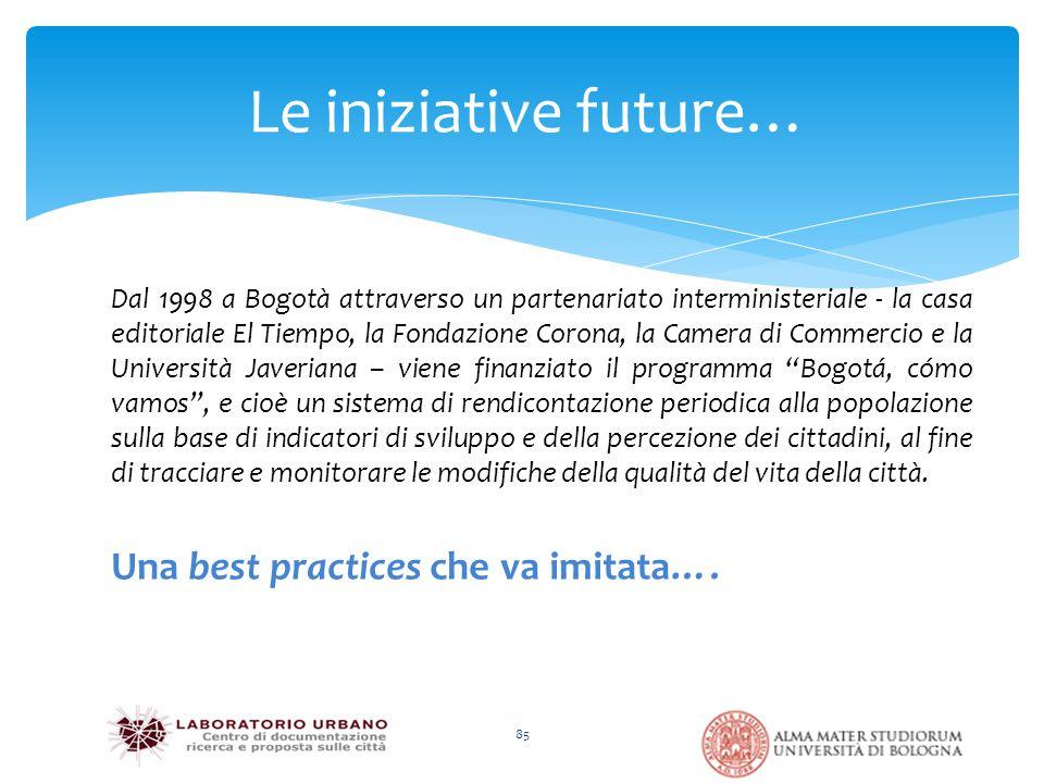 Le iniziative future… 85 Dal 1998 a Bogotà attraverso un partenariato interministeriale - la casa editoriale El Tiempo, la Fondazione Corona, la Camer