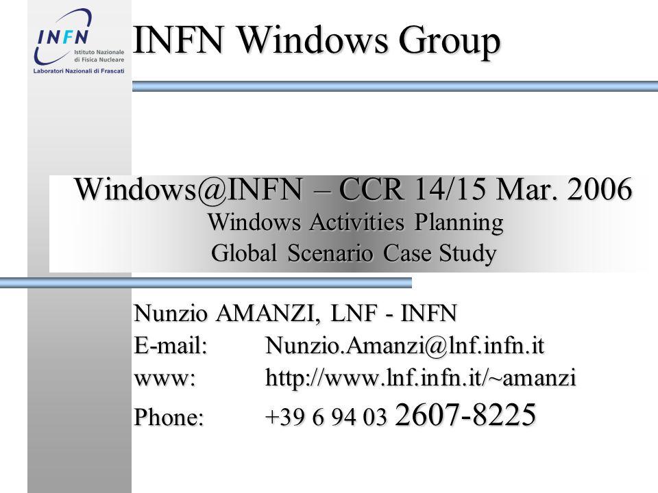 WINDOWS@INFN – CCR 14/15 Marzo 2006 Nunzio AMANZI - LNF Computing Service - Nunzio.Amanzi@lnf.infn.it Subjects Menu 1 - OVERVIEWS 2 - LNF PRINT SERVICE 3 - IN DEPTH SUBJECTS Current Windows Infrastucture Current Windows Infrastucture Desiderata Common Interesting Subjects Common Interesting Subjects Security Policies Security Policies Deploy & Management Proc.