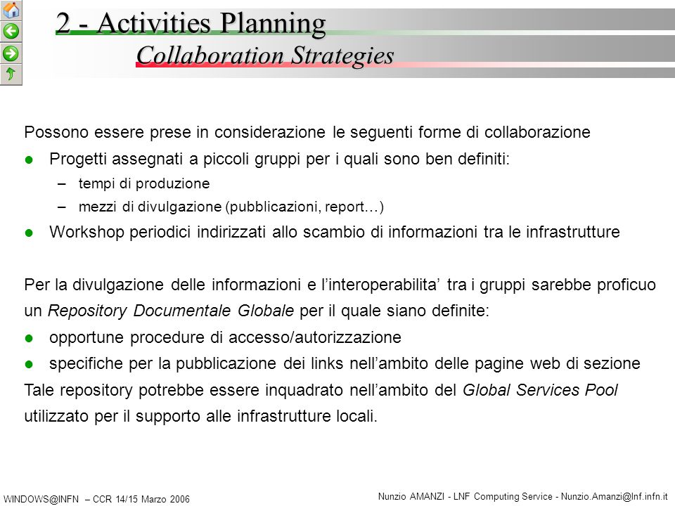 WINDOWS@INFN – CCR 14/15 Marzo 2006 Nunzio AMANZI - LNF Computing Service - Nunzio.Amanzi@lnf.infn.it 2 - Activities Planning Collaboration Strategies