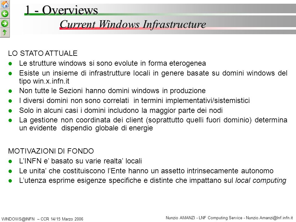 WINDOWS@INFN – CCR 14/15 Marzo 2006 Nunzio AMANZI - LNF Computing Service - Nunzio.Amanzi@lnf.infn.it Current Windows Infrastructure 1 - Overviews MOT