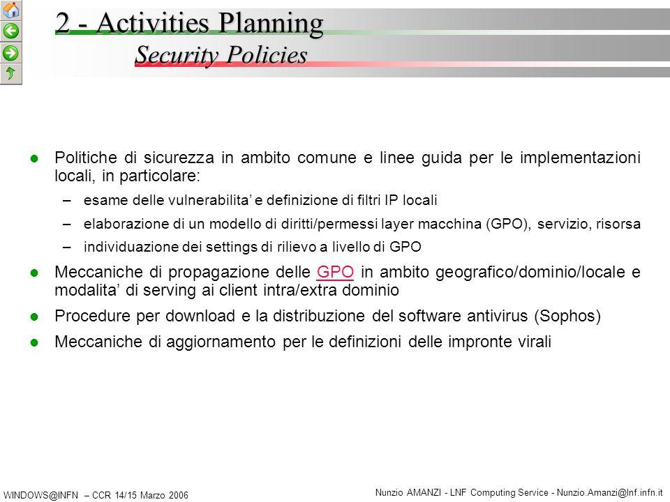 WINDOWS@INFN – CCR 14/15 Marzo 2006 Nunzio AMANZI - LNF Computing Service - Nunzio.Amanzi@lnf.infn.it 2 - Activities Planning Deploy & Management Procedures Procedure di installazione e cloning: – –definizione di un workflow di installazione – –rilascio di specifiche di configurazione per servizi/kits comuni (es.