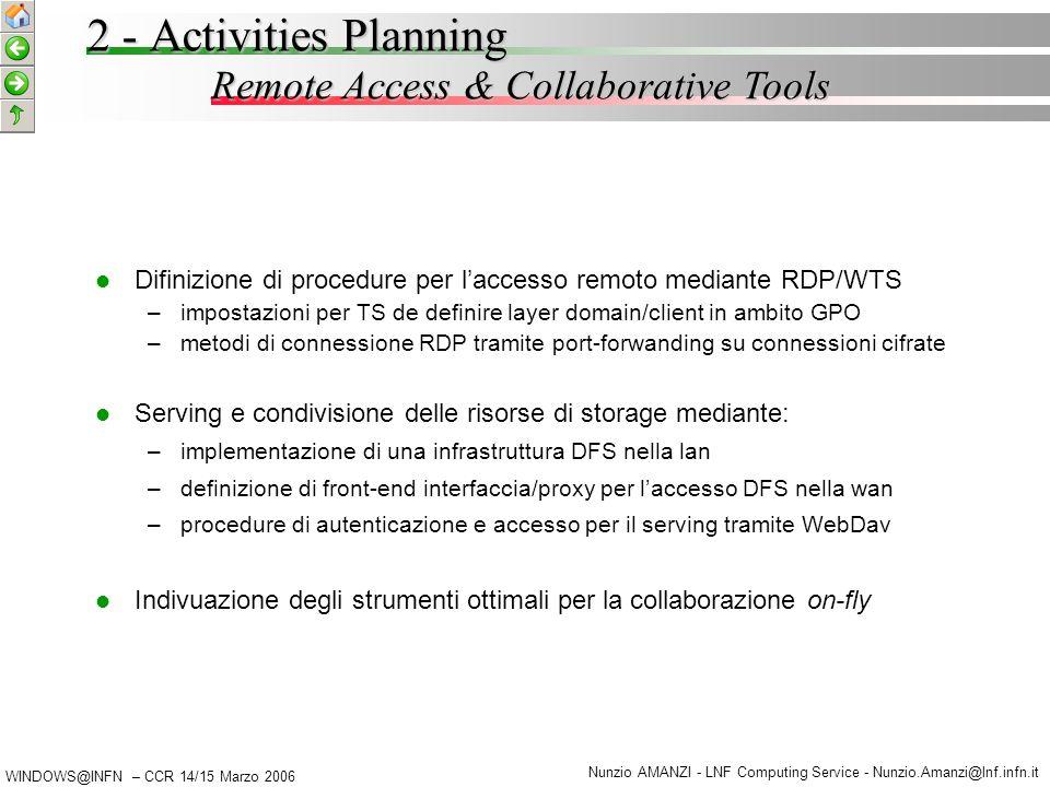 WINDOWS@INFN – CCR 14/15 Marzo 2006 Nunzio AMANZI - LNF Computing Service - Nunzio.Amanzi@lnf.infn.it 2 - Activities Planning Other Development & Support Activities Attivita' trasversali orientate – –alla mobilita' degli utenti – –all'interoperabilita' tra le sedi – –ai test e al supporto per le valutazioni di fattibilita' X-Authentication – –Modello comune di architettura di AD orientato al re-mapping degli utenti trusted – –Meccaniche di acquisizione degli utenti che si autenticano in regni K5 (non windows) – –Strategie di definizione delle memberships locali Scenari di test mediante macchine virtuali nell'ottica di: – –Limitare l'impegno delle risorse – –Produrre un impatto minimo sulle infrastrutture – –Beneficiare di roll-back facilities, mobilita' e portabilita'