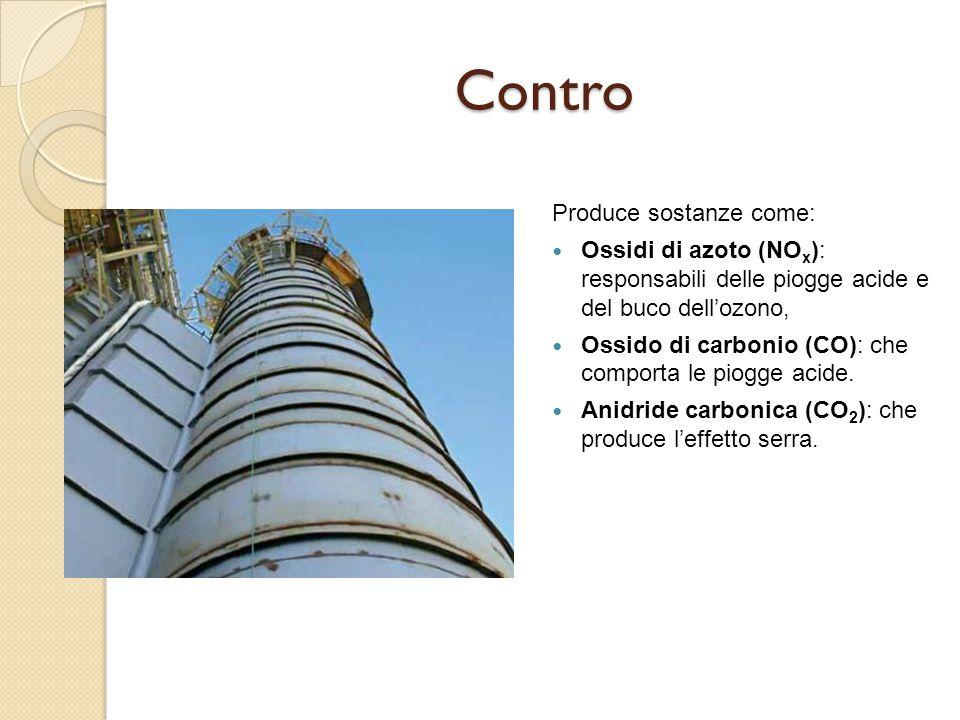 Contro Produce sostanze come: Ossidi di azoto (NO x ): responsabili delle piogge acide e del buco dell'ozono, Ossido di carbonio (CO): che comporta le