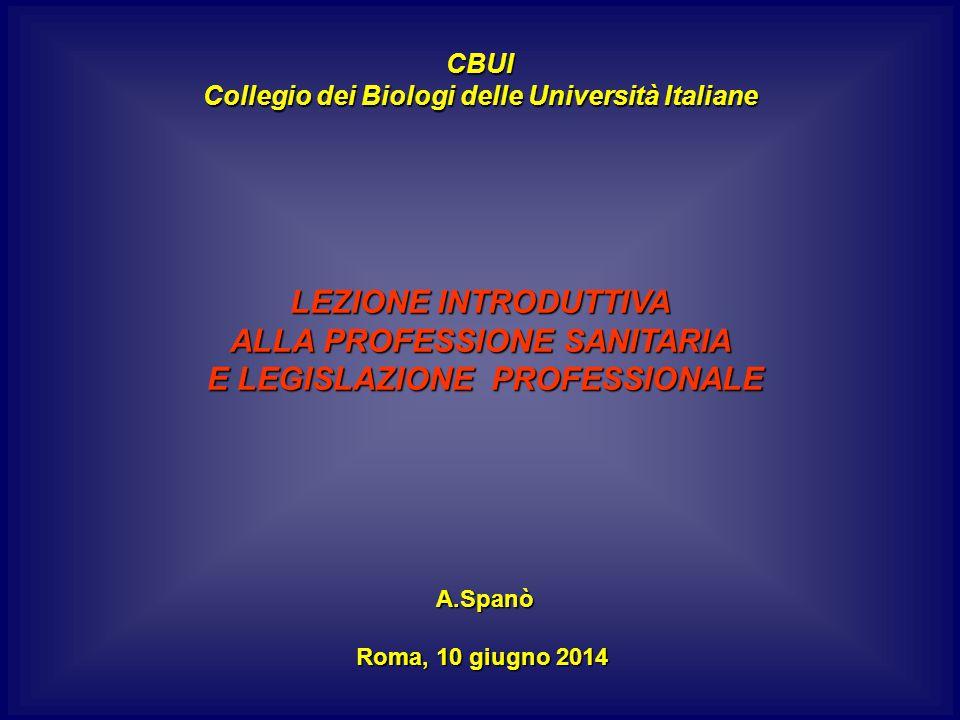 CBUI Collegio dei Biologi delle Università Italiane LEZIONE INTRODUTTIVA ALLA PROFESSIONE SANITARIA E LEGISLAZIONE PROFESSIONALE E LEGISLAZIONE PROFESSIONALE A.Spanò A.Spanò Roma, 10 giugno 2014