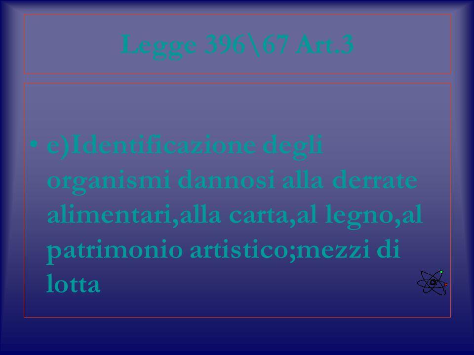 Legge 396\67 Art.3 e)Identificazione degli organismi dannosi alla derrate alimentari,alla carta,al legno,al patrimonio artistico;mezzi di lotta