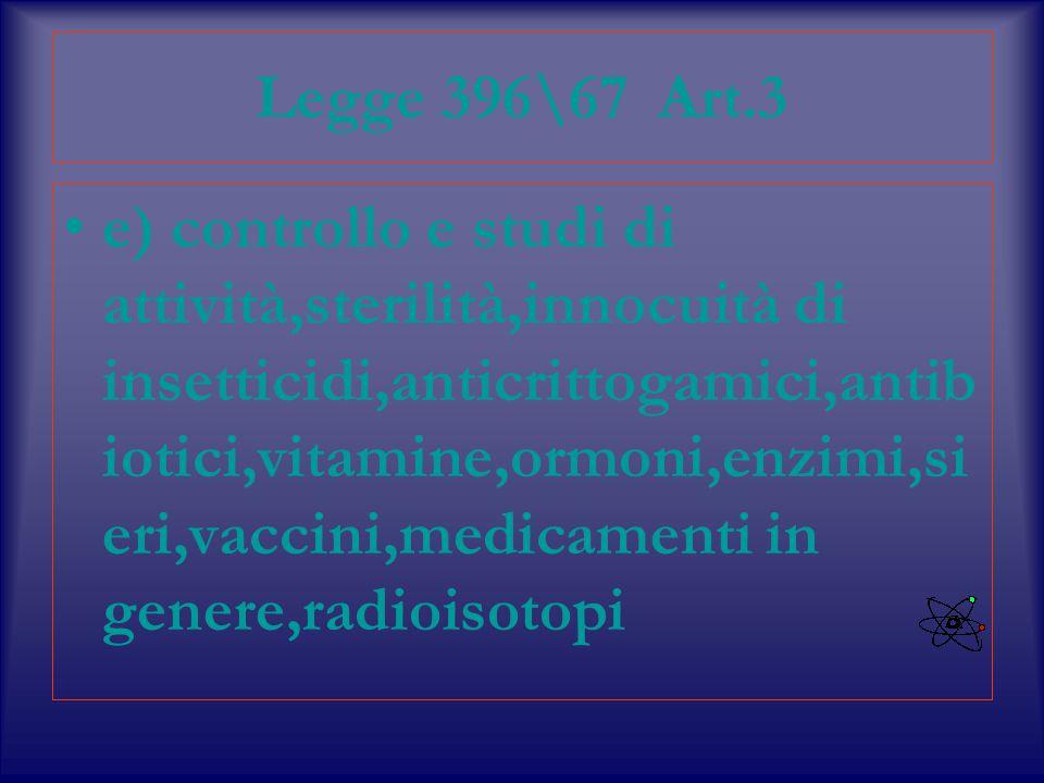 Legge 396\67 Art.3 e) controllo e studi di attività,sterilità,innocuità di insetticidi,anticrittogamici,antib iotici,vitamine,ormoni,enzimi,si eri,vaccini,medicamenti in genere,radioisotopi