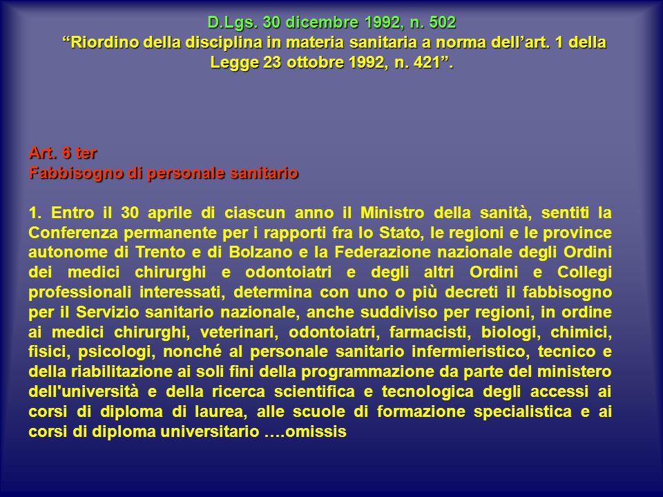 D.Lgs.30 dicembre 1992, n. 502 Riordino della disciplina in materia sanitaria a norma dell'art.