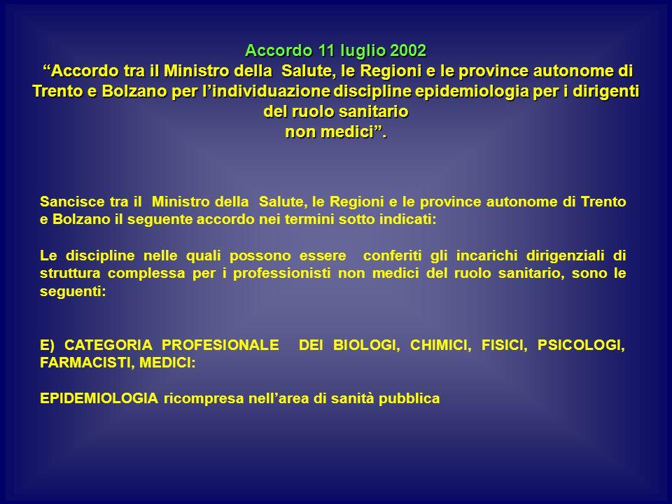 Accordo 11 luglio 2002 Accordo tra il Ministro della Salute, le Regioni e le province autonome di Trento e Bolzano per l'individuazione discipline epidemiologia per i dirigenti del ruolo sanitario non medici .