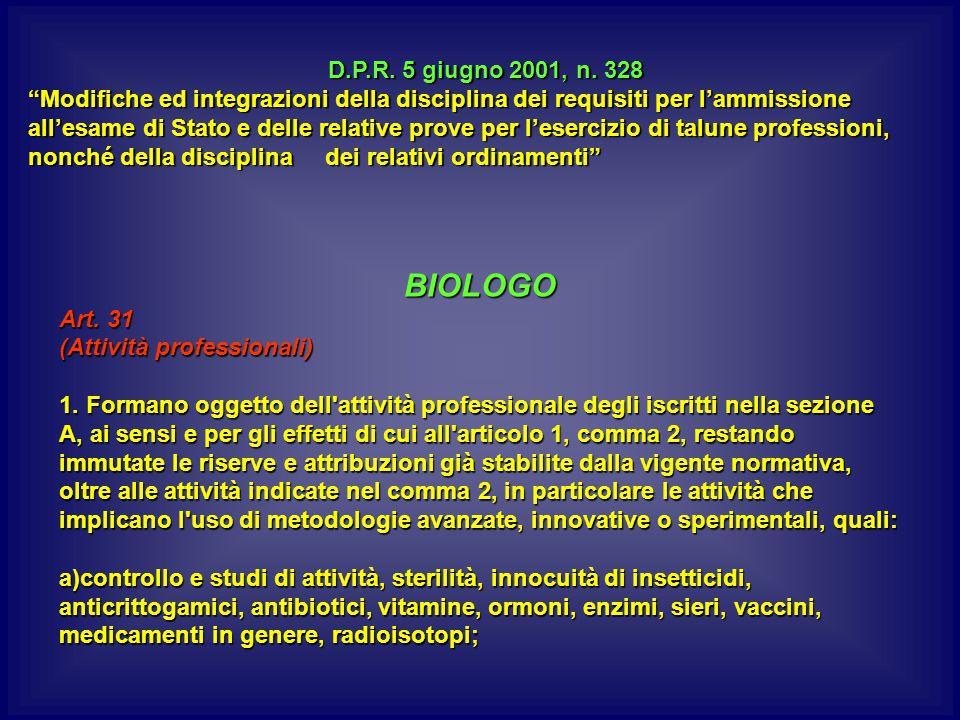 BIOLOGO Art.31 (Attività professionali) 1.