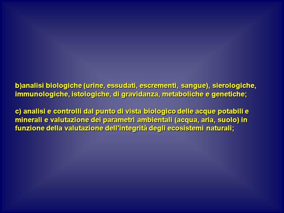 b)analisi biologiche (urine, essudati, escrementi, sangue), sierologiche, immunologiche, istologiche, di gravidanza, metaboliche e genetiche; c) analisi e controlli dal punto di vista biologico delle acque potabili e minerali e valutazione dei parametri ambientali (acqua, aria, suolo) in funzione della valutazione dell integrità degli ecosistemi naturali;