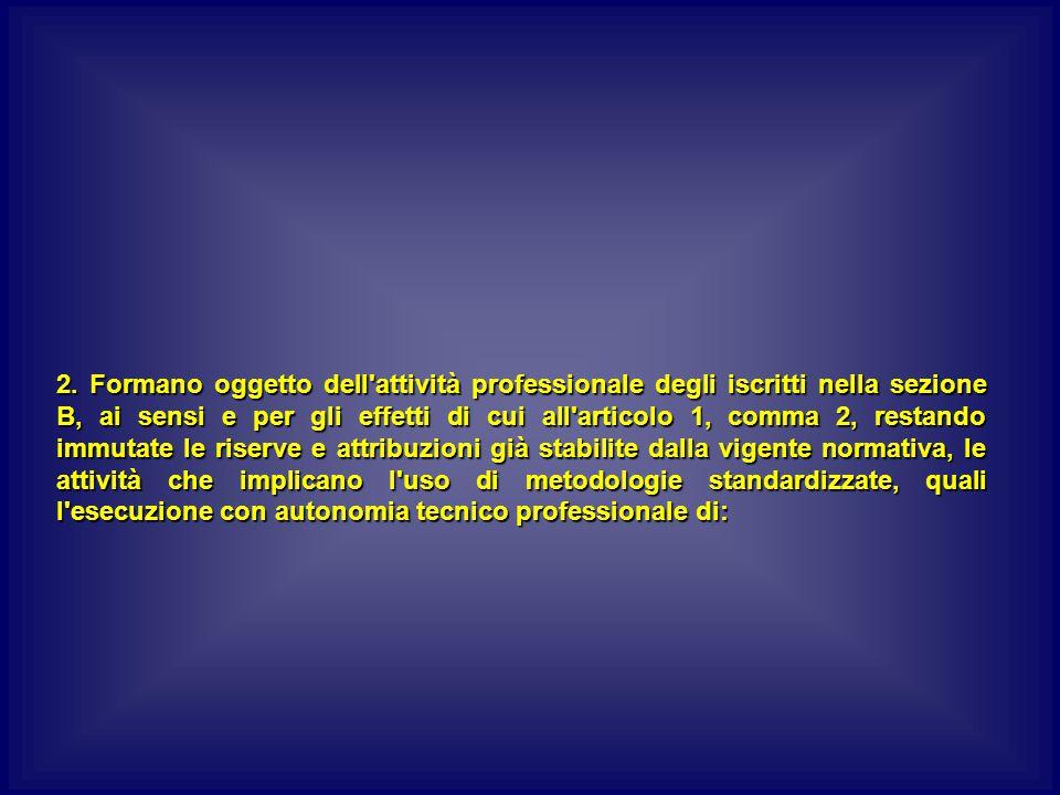 2. Formano oggetto dell'attività professionale degli iscritti nella sezione B, ai sensi e per gli effetti di cui all'articolo 1, comma 2, restando imm