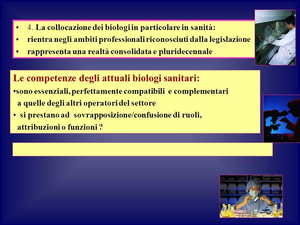 4. La collocazione dei biologi in particolare in sanità: rientra negli ambiti professionali riconosciuti dalla legislazione rappresenta una realtà con