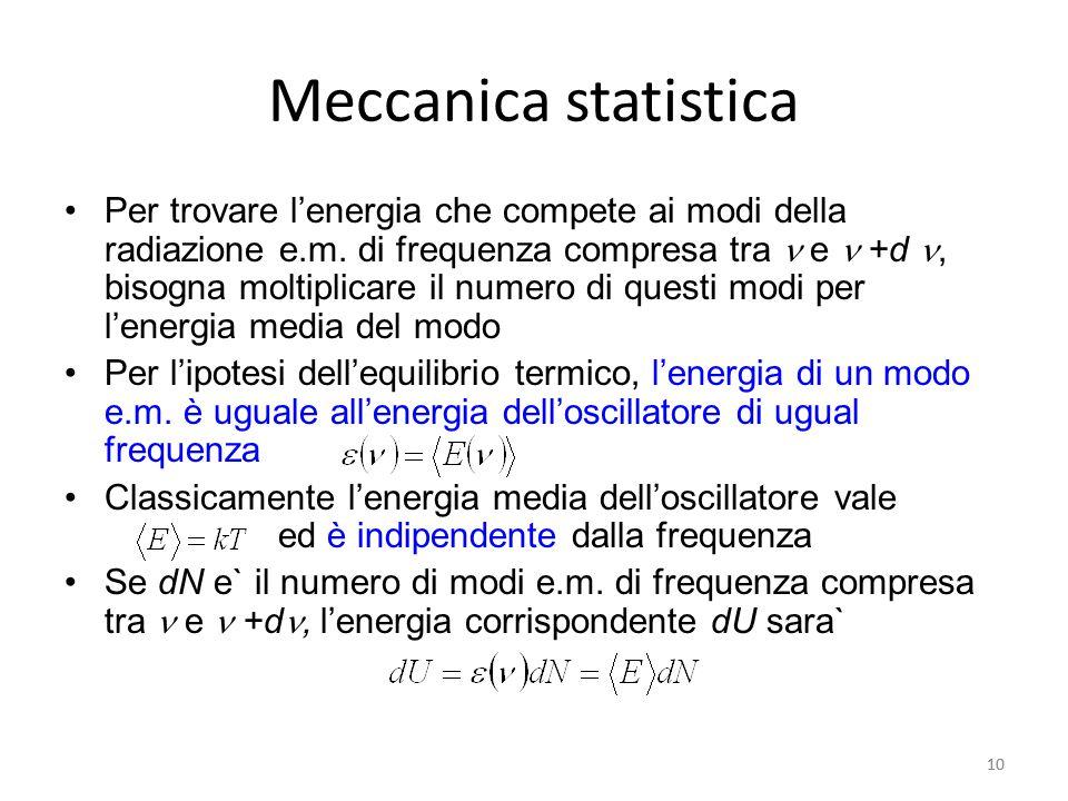 10 Meccanica statistica Per trovare l'energia che compete ai modi della radiazione e.m.