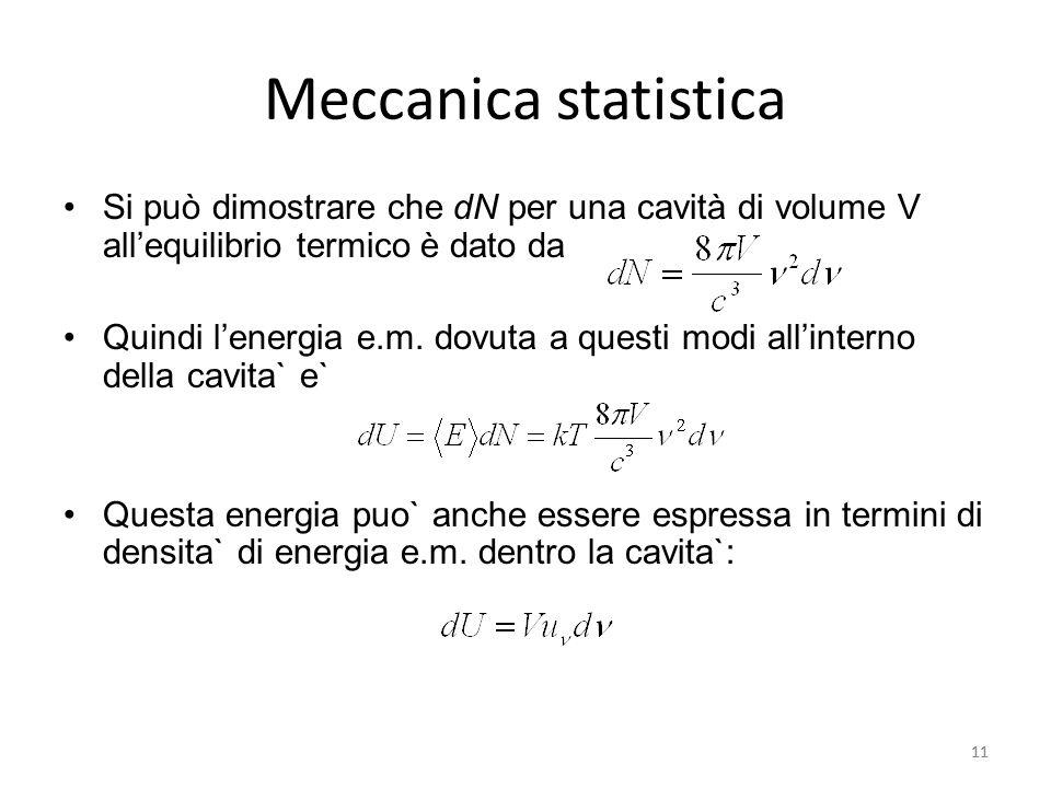 11 Meccanica statistica Si può dimostrare che dN per una cavità di volume V all'equilibrio termico è dato da Quindi l'energia e.m.
