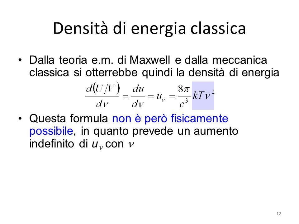 12 Densità di energia classica Dalla teoria e.m.