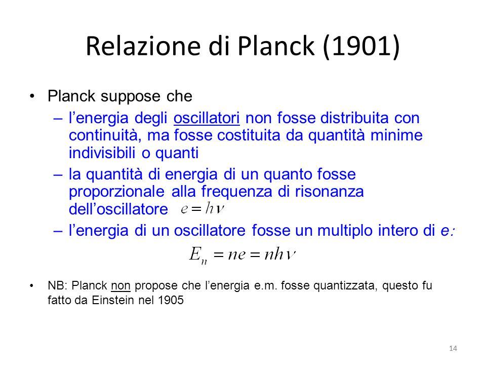 14 Relazione di Planck (1901) Planck suppose che –l'energia degli oscillatori non fosse distribuita con continuità, ma fosse costituita da quantità minime indivisibili o quanti –la quantità di energia di un quanto fosse proporzionale alla frequenza di risonanza dell'oscillatore –l'energia di un oscillatore fosse un multiplo intero di e  NB: Planck non propose che l'energia e.m.