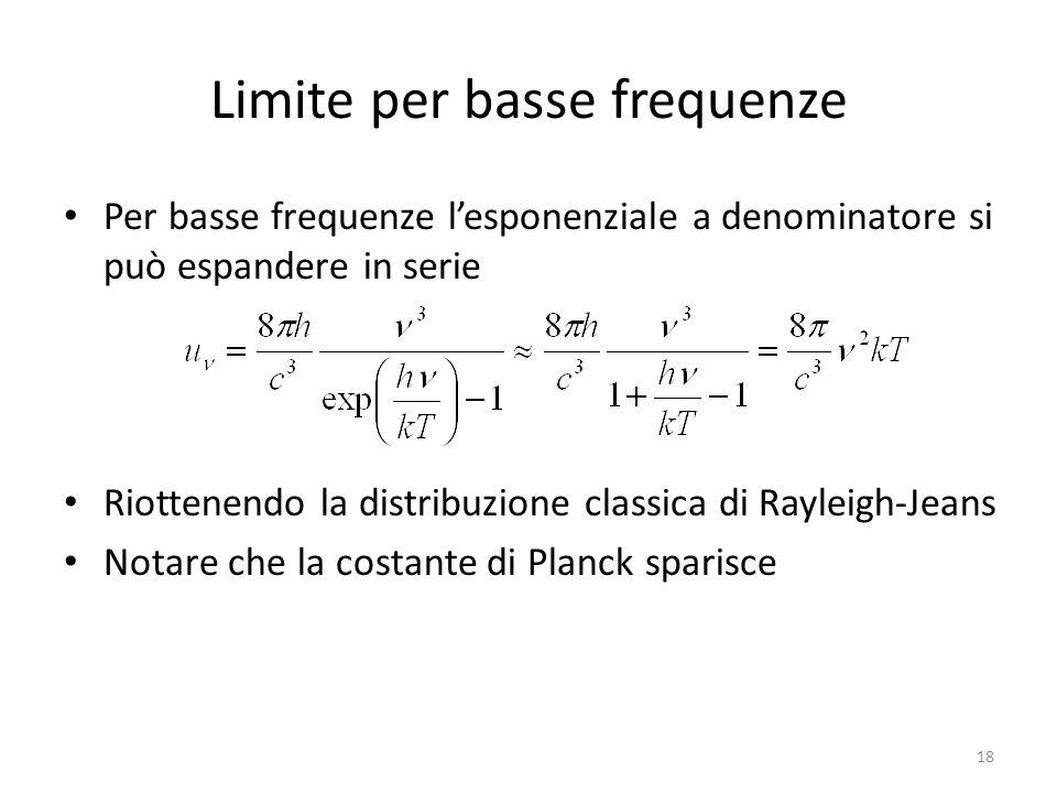 Limite per basse frequenze Per basse frequenze l'esponenziale a denominatore si può espandere in serie Riottenendo la distribuzione classica di Rayleigh-Jeans Notare che la costante di Planck sparisce 18