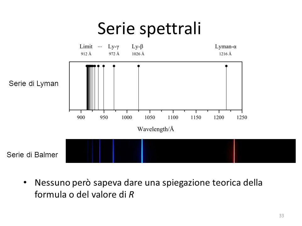 Serie spettrali Nessuno però sapeva dare una spiegazione teorica della formula o del valore di R 33 Serie di Lyman Serie di Balmer