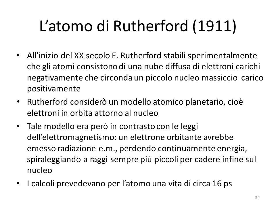 L'atomo di Rutherford (1911) All'inizio del XX secolo E.