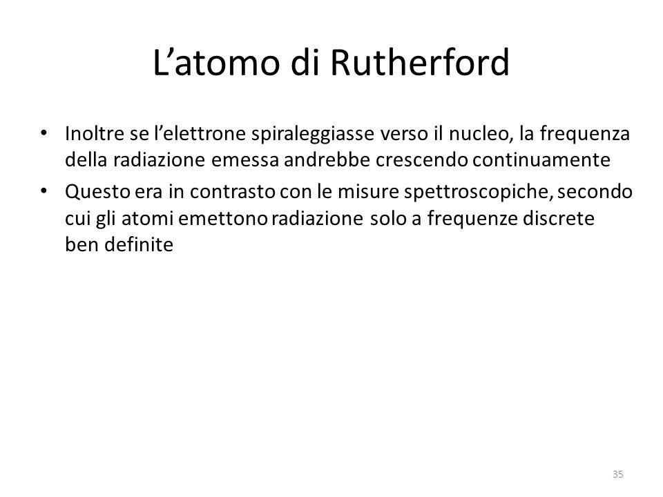 L'atomo di Rutherford Inoltre se l'elettrone spiraleggiasse verso il nucleo, la frequenza della radiazione emessa andrebbe crescendo continuamente Questo era in contrasto con le misure spettroscopiche, secondo cui gli atomi emettono radiazione solo a frequenze discrete ben definite 35