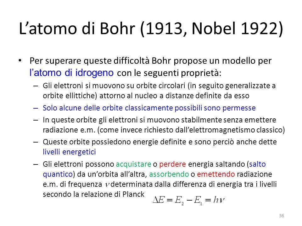 L'atomo di Bohr (1913, Nobel 1922) Per superare queste difficoltà Bohr propose un modello per l'atomo di idrogeno con le seguenti proprietà: – Gli elettroni si muovono su orbite circolari (in seguito generalizzate a orbite ellittiche) attorno al nucleo a distanze definite da esso – Solo alcune delle orbite classicamente possibili sono permesse – In queste orbite gli elettroni si muovono stabilmente senza emettere radiazione e.m.