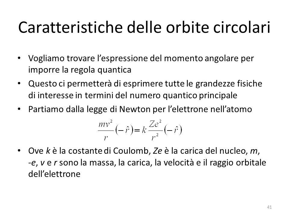 Caratteristiche delle orbite circolari Vogliamo trovare l'espressione del momento angolare per imporre la regola quantica Questo ci permetterà di esprimere tutte le grandezze fisiche di interesse in termini del numero quantico principale Partiamo dalla legge di Newton per l'elettrone nell'atomo Ove k è la costante di Coulomb, Ze è la carica del nucleo, m, -e, v e r sono la massa, la carica, la velocità e il raggio orbitale dell'elettrone 41