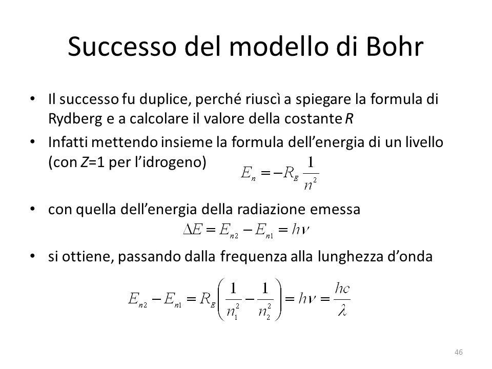 Successo del modello di Bohr Il successo fu duplice, perché riuscì a spiegare la formula di Rydberg e a calcolare il valore della costante R Infatti mettendo insieme la formula dell'energia di un livello (con Z=1 per l'idrogeno) con quella dell'energia della radiazione emessa si ottiene, passando dalla frequenza alla lunghezza d'onda 46