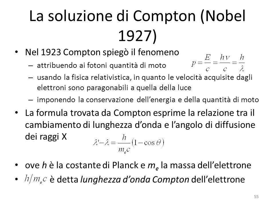 55 La soluzione di Compton (Nobel 1927) Nel 1923 Compton spiegò il fenomeno – attribuendo ai fotoni quantità di moto – usando la fisica relativistica, in quanto le velocità acquisite dagli elettroni sono paragonabili a quella della luce – imponendo la conservazione dell'energia e della quantità di moto La formula trovata da Compton esprime la relazione tra il cambiamento di lunghezza d'onda e l'angolo di diffusione dei raggi X ove h è la costante di Planck e m e la massa dell'elettrone è detta lunghezza d'onda Compton dell'elettrone 55