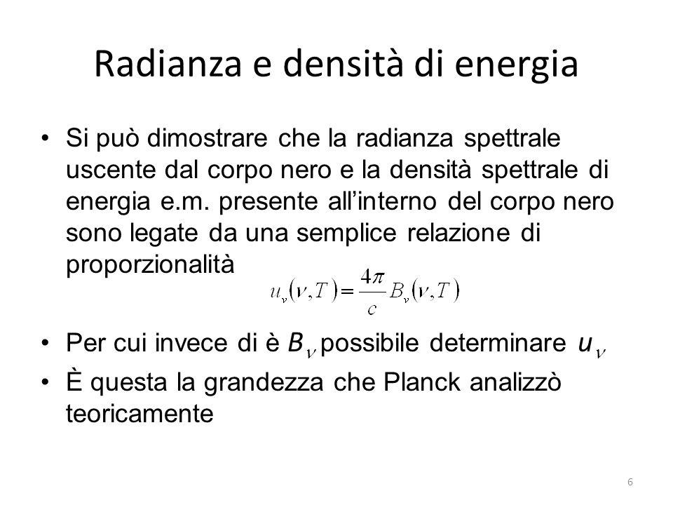 Radianza e densità di energia Si può dimostrare che la radianza spettrale uscente dal corpo nero e la densità spettrale di energia e.m.