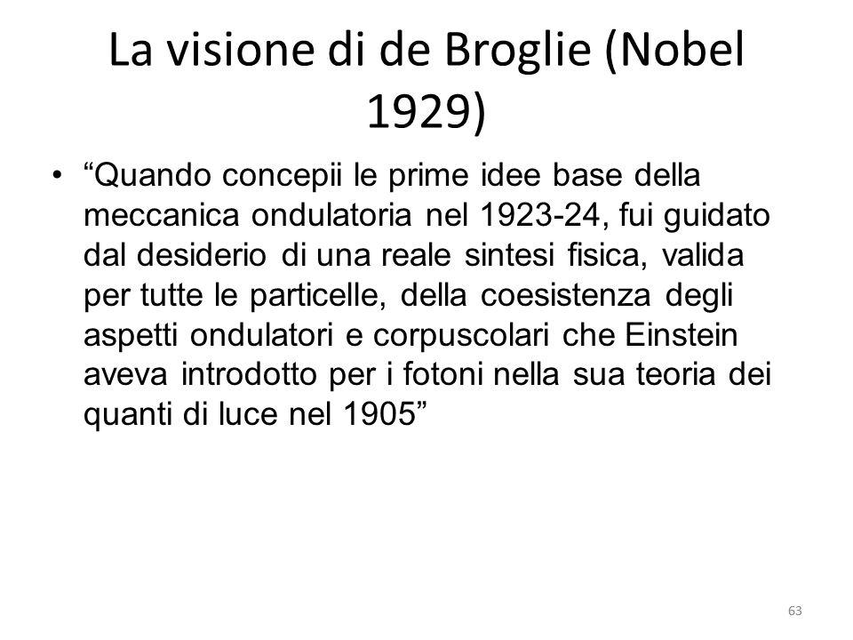 63 La visione di de Broglie (Nobel 1929) Quando concepii le prime idee base della meccanica ondulatoria nel 1923-24, fui guidato dal desiderio di una reale sintesi fisica, valida per tutte le particelle, della coesistenza degli aspetti ondulatori e corpuscolari che Einstein aveva introdotto per i fotoni nella sua teoria dei quanti di luce nel 1905 63