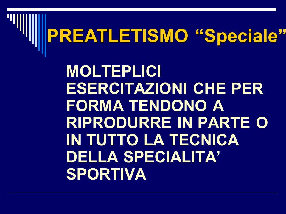 """PREATLETISMO """"Speciale"""" MOLTEPLICI ESERCITAZIONI CHE PER FORMA TENDONO A RIPRODURRE IN PARTE O IN TUTTO LA TECNICA DELLA SPECIALITA' SPORTIVA"""