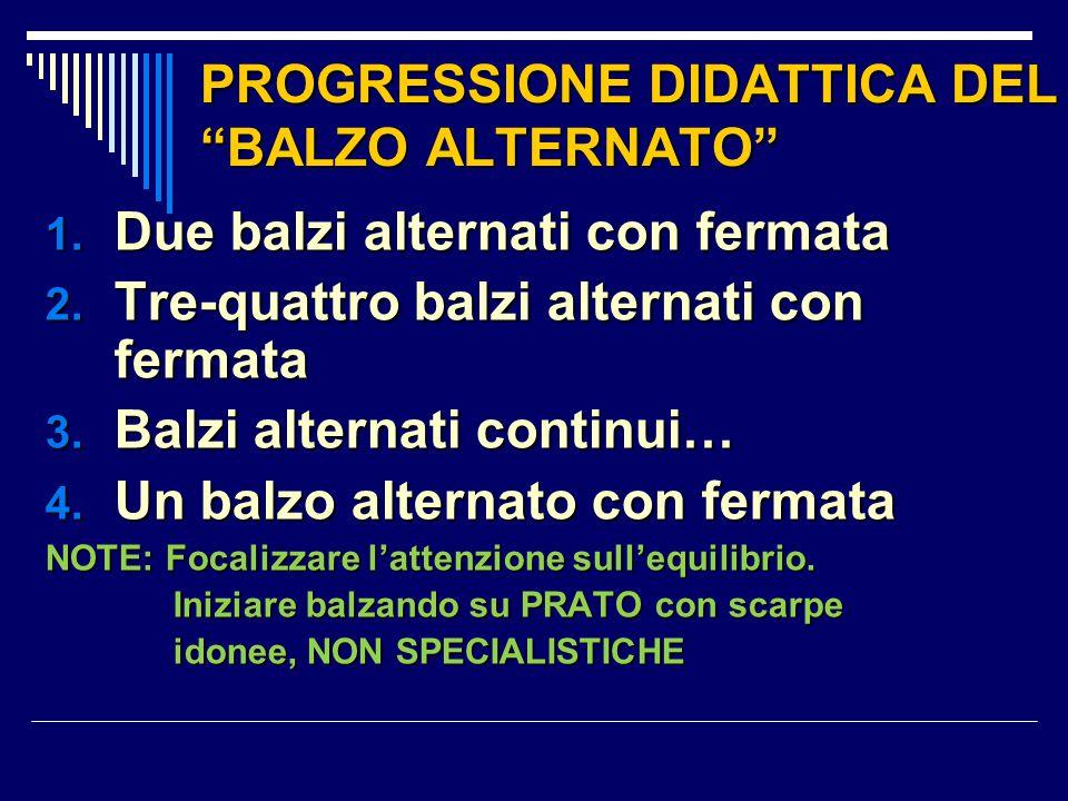 """PROGRESSIONE DIDATTICA DEL """"BALZO ALTERNATO"""" 1. Due balzi alternati con fermata 2. Tre-quattro balzi alternati con fermata 3. Balzi alternati continui"""