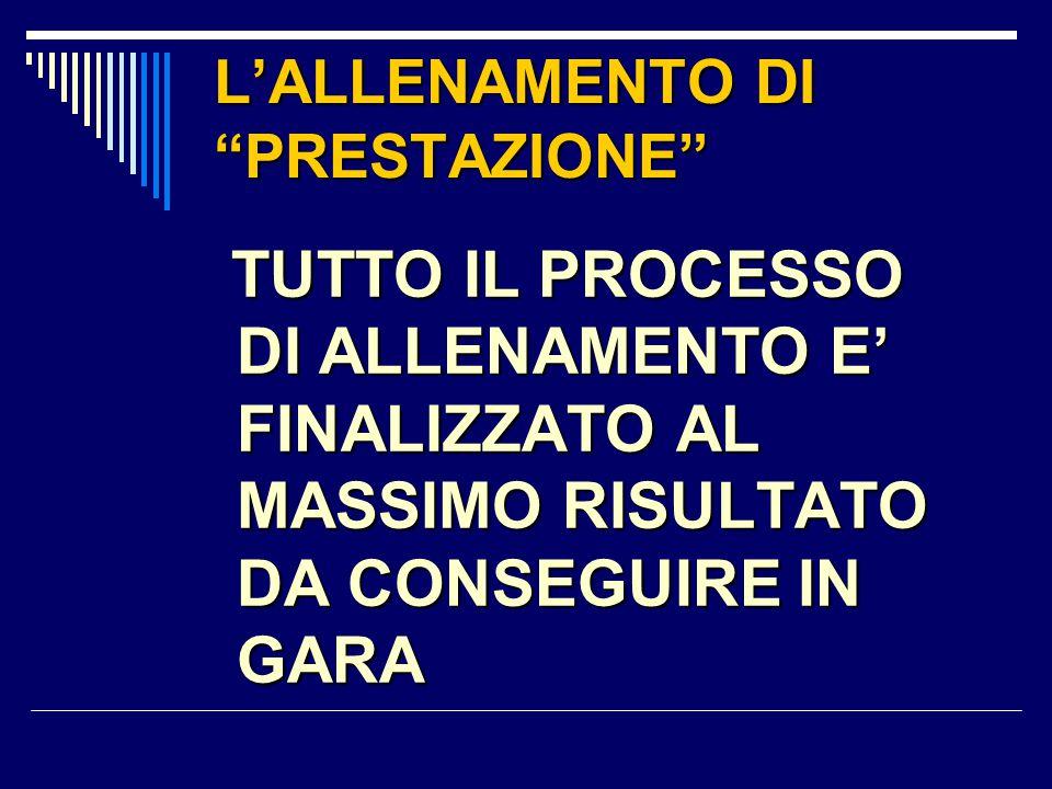 """L'ALLENAMENTO DI """"PRESTAZIONE"""" TUTTO IL PROCESSO DI ALLENAMENTO E' FINALIZZATO AL MASSIMO RISULTATO DA CONSEGUIRE IN GARA"""