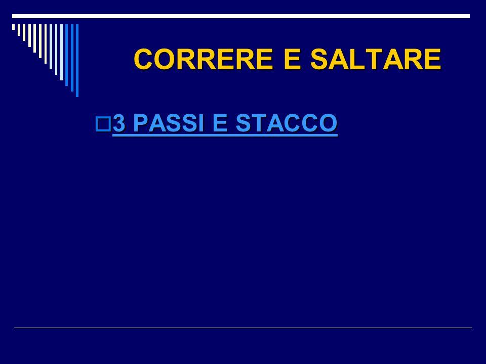 CORRERE E SALTARE CORRERE E SALTARE  3 PASSI E STACCO 3 PASSI E STACCO 3 PASSI E STACCO