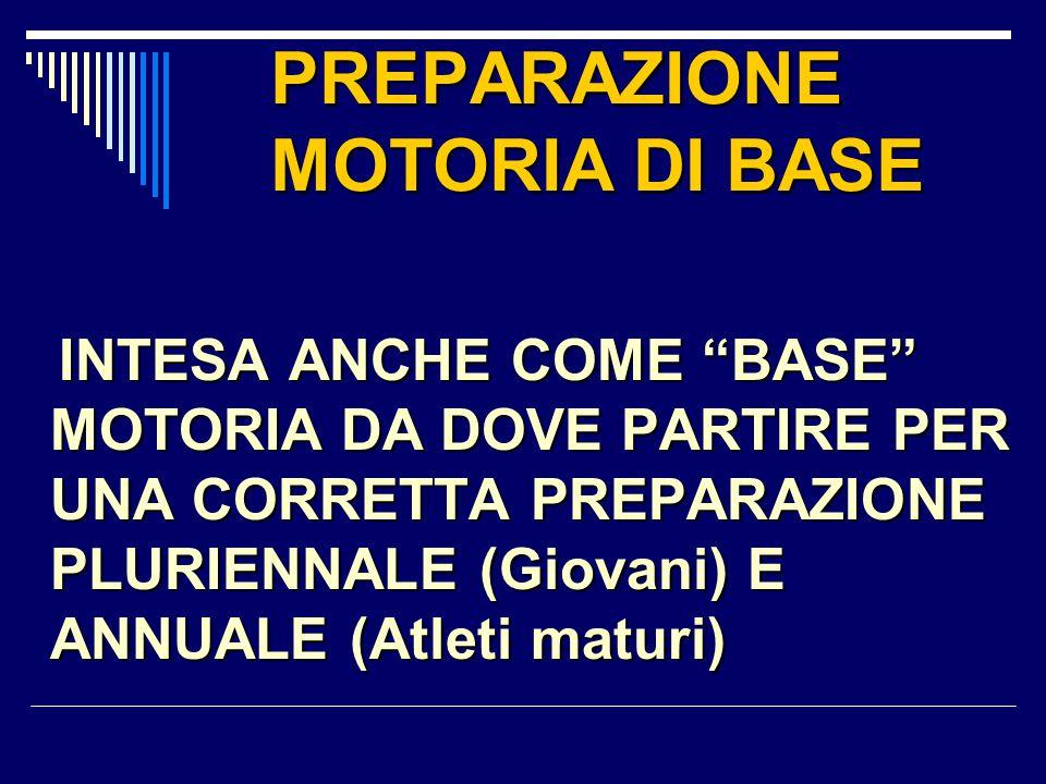 """PREPARAZIONE MOTORIA DI BASE INTESA ANCHE COME """"BASE"""" MOTORIA DA DOVE PARTIRE PER UNA CORRETTA PREPARAZIONE PLURIENNALE (Giovani) E ANNUALE (Atleti ma"""