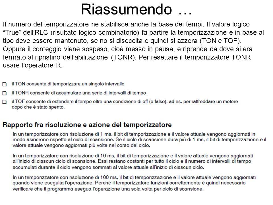 """Riassumendo … Il numero del temporizzatore ne stabilisce anche la base dei tempi. Il valore logico """"True"""" dell'RLC (risultato logico combinatorio) fa"""