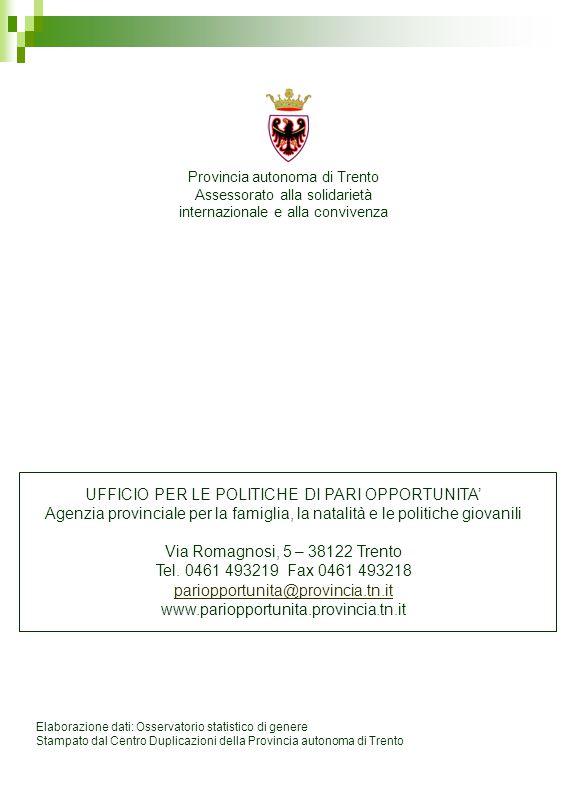 Elaborazione dati: Osservatorio statistico di genere Stampato dal Centro Duplicazioni della Provincia autonoma di Trento Provincia autonoma di Trento